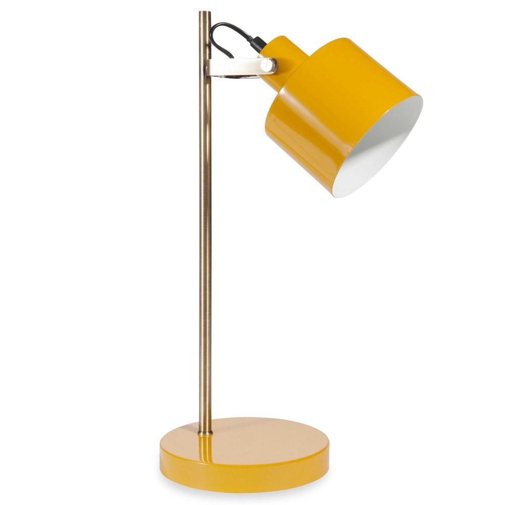 Lampe en m tal jaune h 43 cm twist maisons du monde for Lampe de bureau jaune