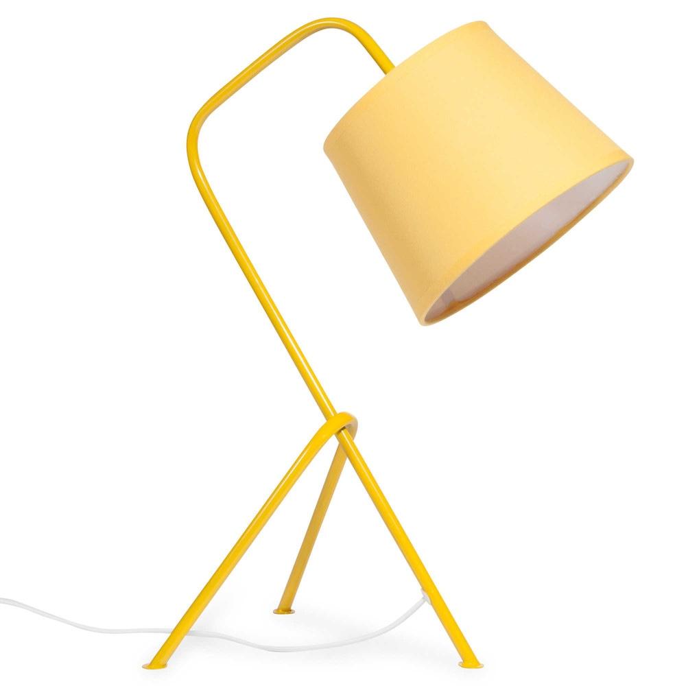 Lampe en m tal jaune h 45 cm vintage yellow maisons du monde for Lampe de bureau jaune