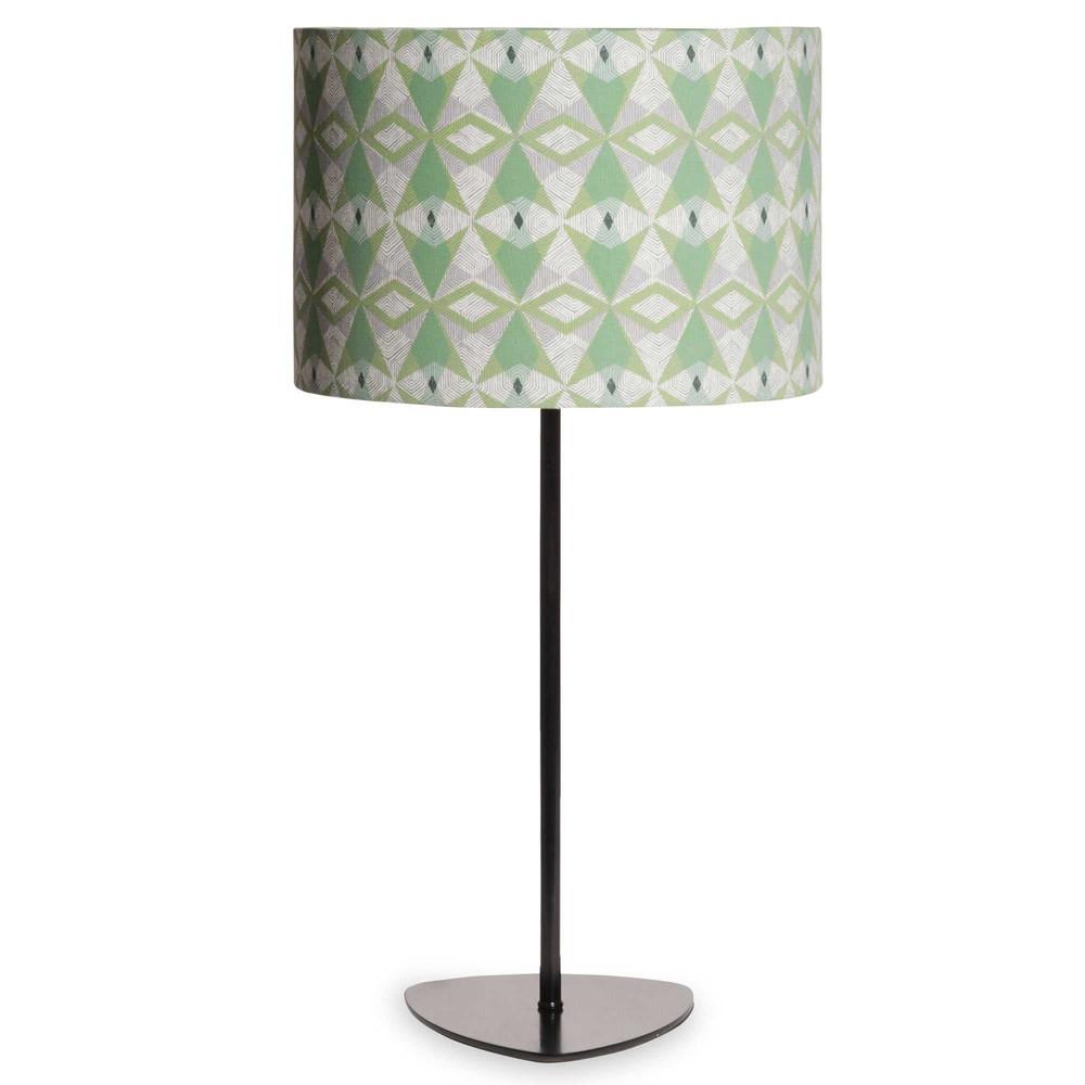 lampe en m tal noir abat jour motifs verts tootsie maisons du monde. Black Bedroom Furniture Sets. Home Design Ideas