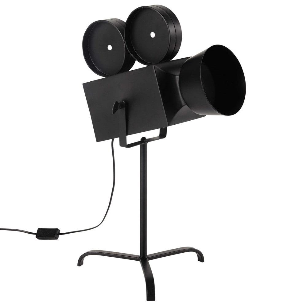 lampe en m tal noire h 58 cm hollywood maisons du monde. Black Bedroom Furniture Sets. Home Design Ideas