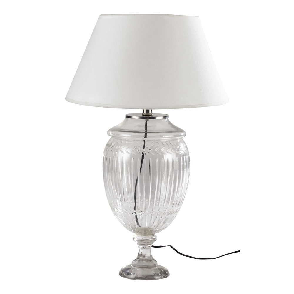 Lampe en verre et abat jour en coton beige h 67 cm laurine for Maison du monde lampe
