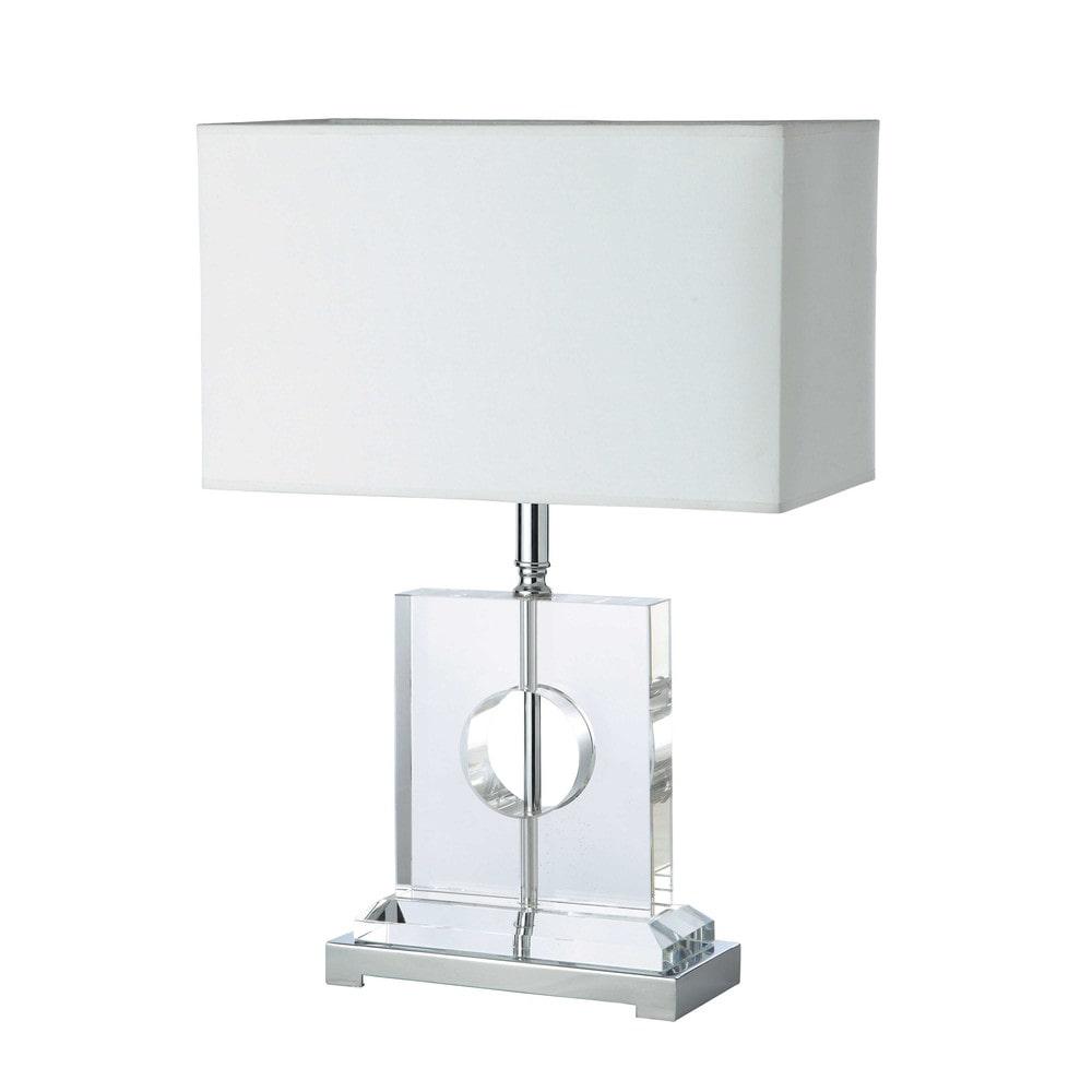 Lampe en verre et abat jour en coton blanc h 63 cm morella maisons du monde - Abat jour maison ...