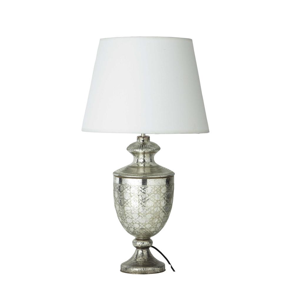 Lampe en verre et abat jour en coton blanc h 67 cm for Lampe pied en verre