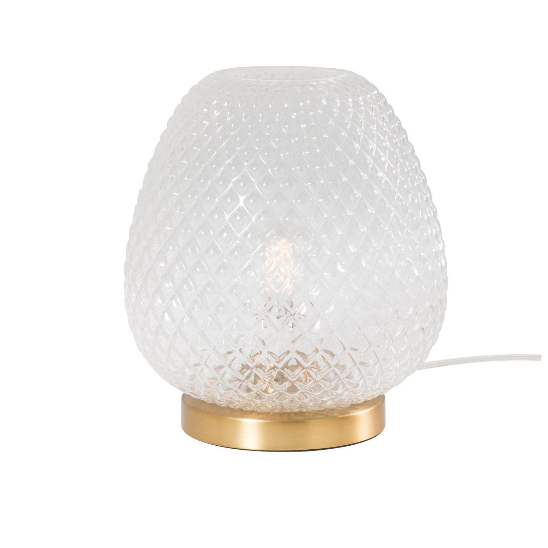 Lampe En Verre Strie Et Metal Dore Huguette Maisons Du Monde