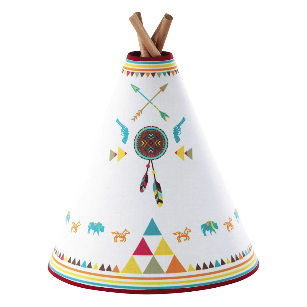 lampe enfant tipi en bois et abat jour coton multicolore h. Black Bedroom Furniture Sets. Home Design Ideas