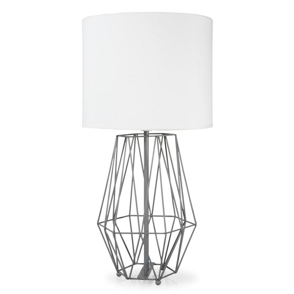 Lampe filaire en m tal grise h 53 cm origami maisons du for Lampe de chevet grise