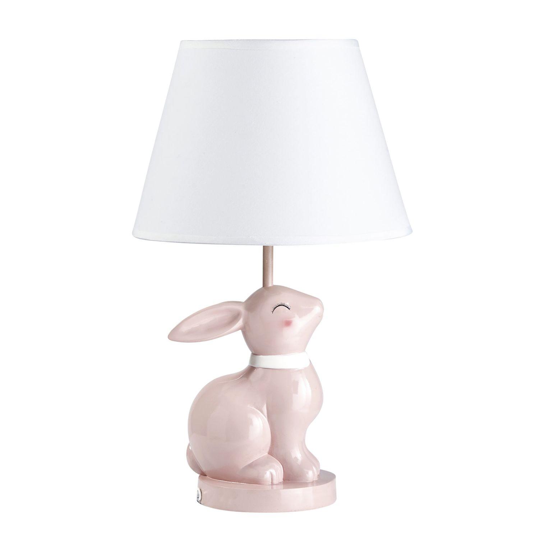 Lampe Lapin En Ceramique Rose Abat Jour Blanc Apolline Maisons Du