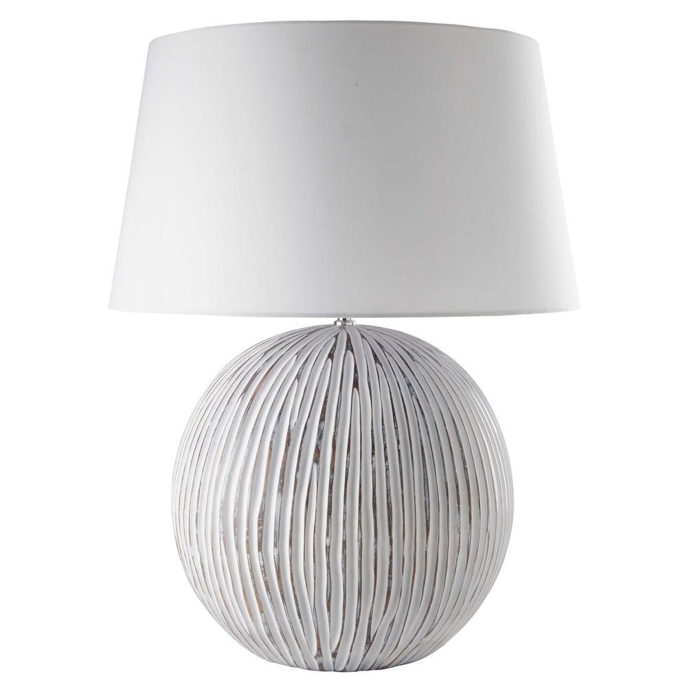 Lampe sculpt e et blanchie abat jour blanc siwa maisons du monde - Lampes a poser maison du monde ...