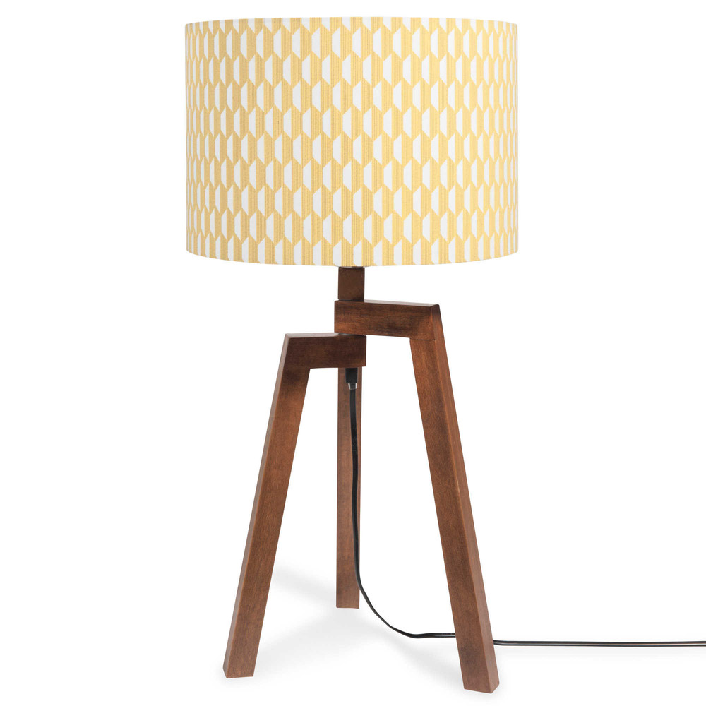 lampe tr pied en bois avec abat jour motifs h 57 cm. Black Bedroom Furniture Sets. Home Design Ideas