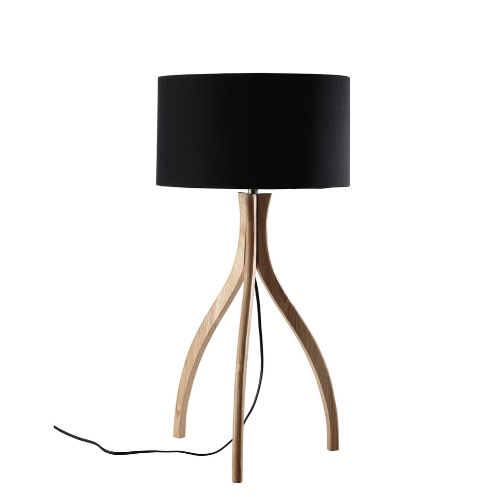 lampe tr pied en bois et abat jour en coton noir h 70 cm sven maisons du monde. Black Bedroom Furniture Sets. Home Design Ideas