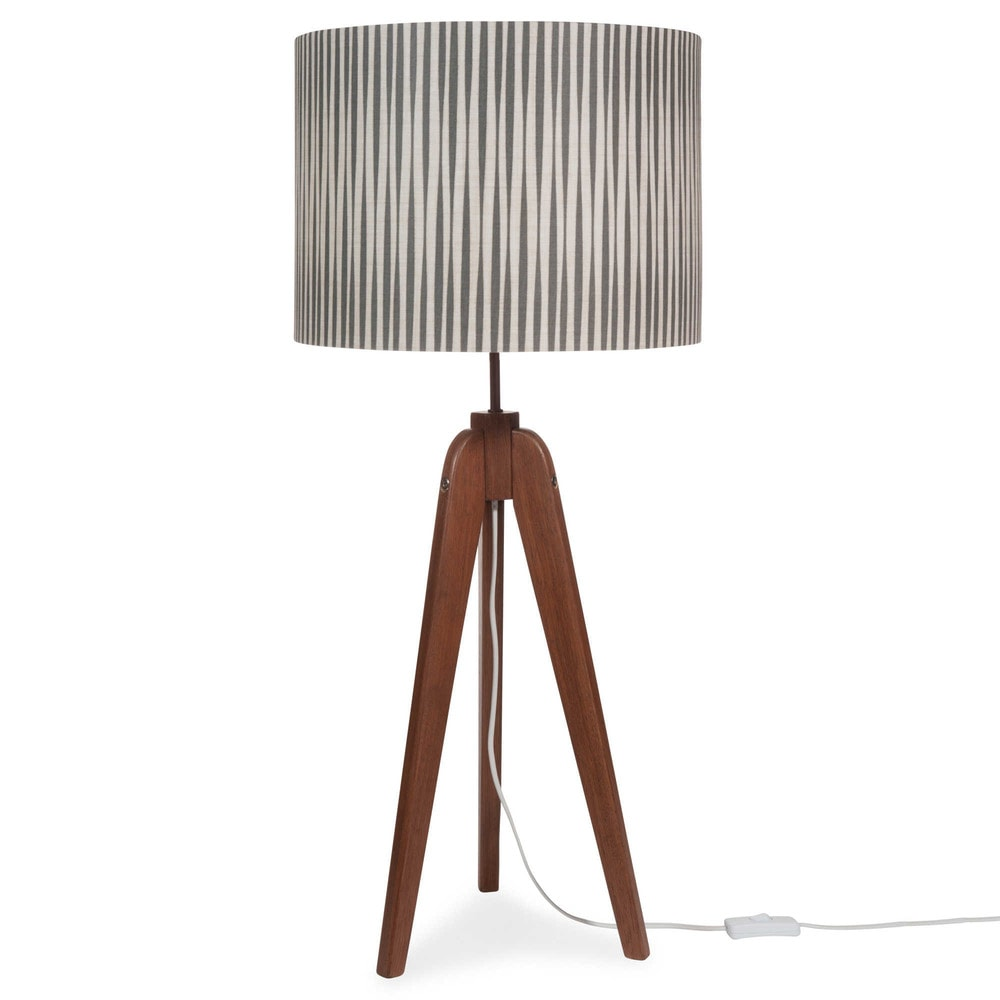 lampe tr pied en bois h 85 cm luce tribu maisons du monde. Black Bedroom Furniture Sets. Home Design Ideas