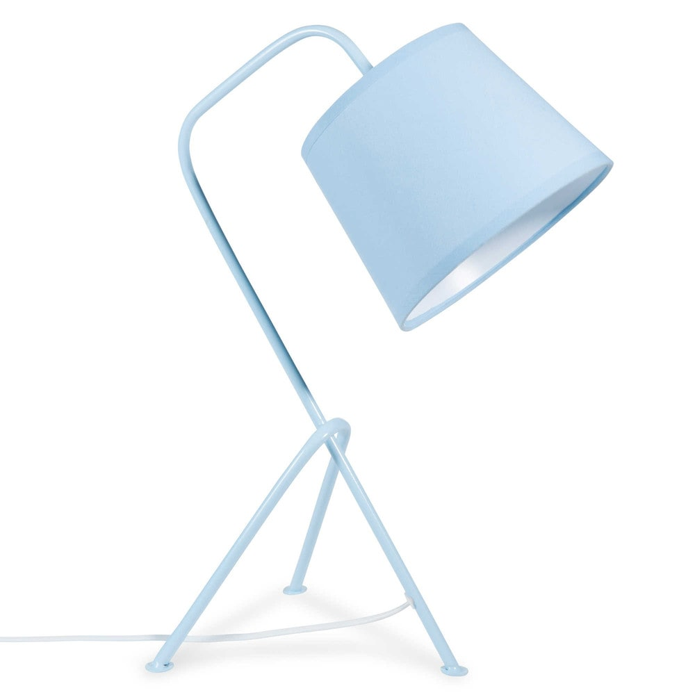 lampe tr pied en m tal bleu h 45 cm r tro vintage. Black Bedroom Furniture Sets. Home Design Ideas
