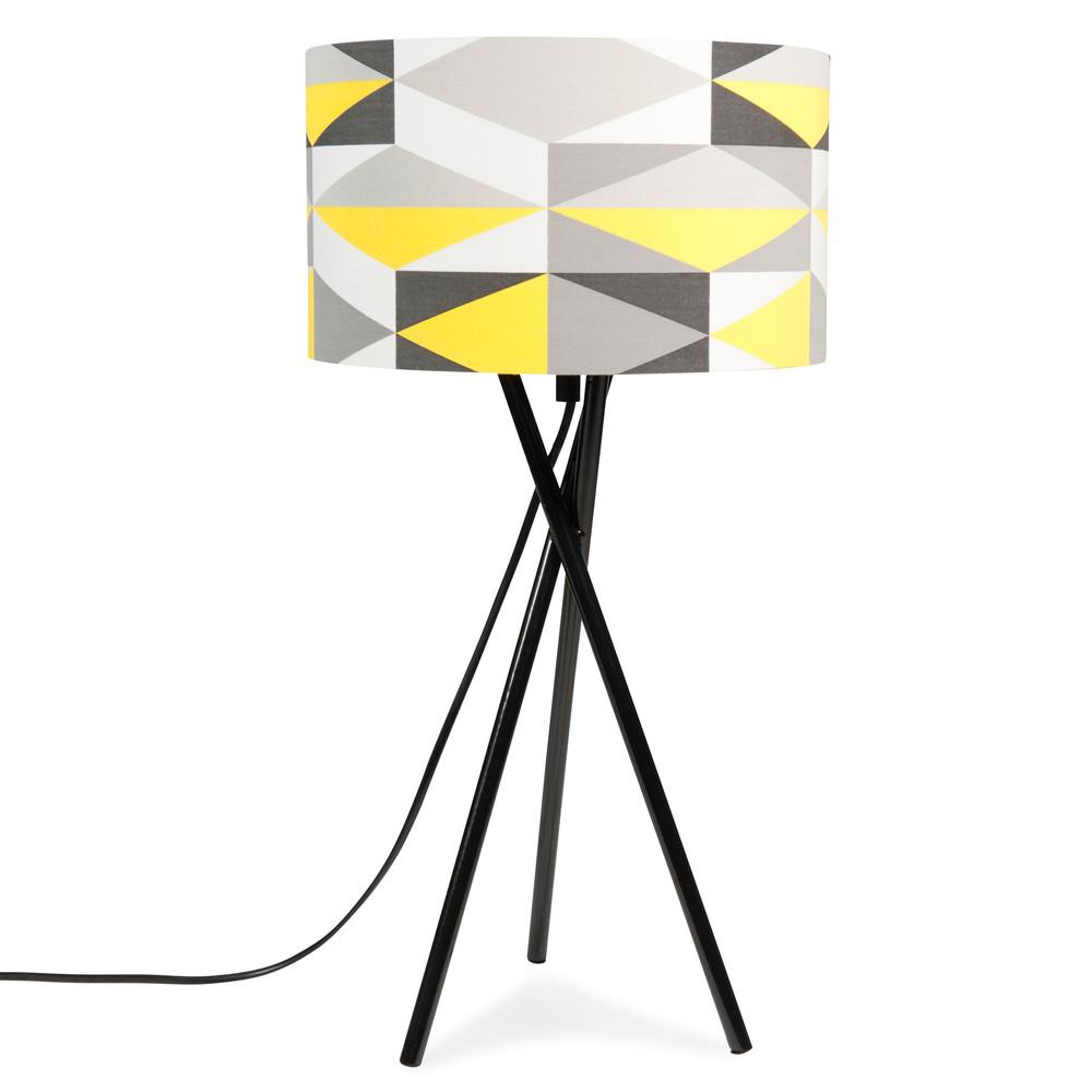 lampe tr pied en m tal jaune grise h 51 cm yellow. Black Bedroom Furniture Sets. Home Design Ideas