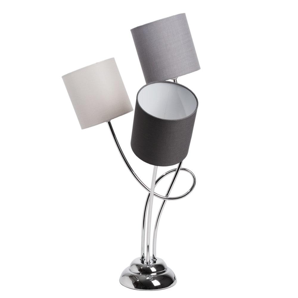 Lampe triple en m tal chrom et abat jour en tissu grise h for Lampe de chevet grise
