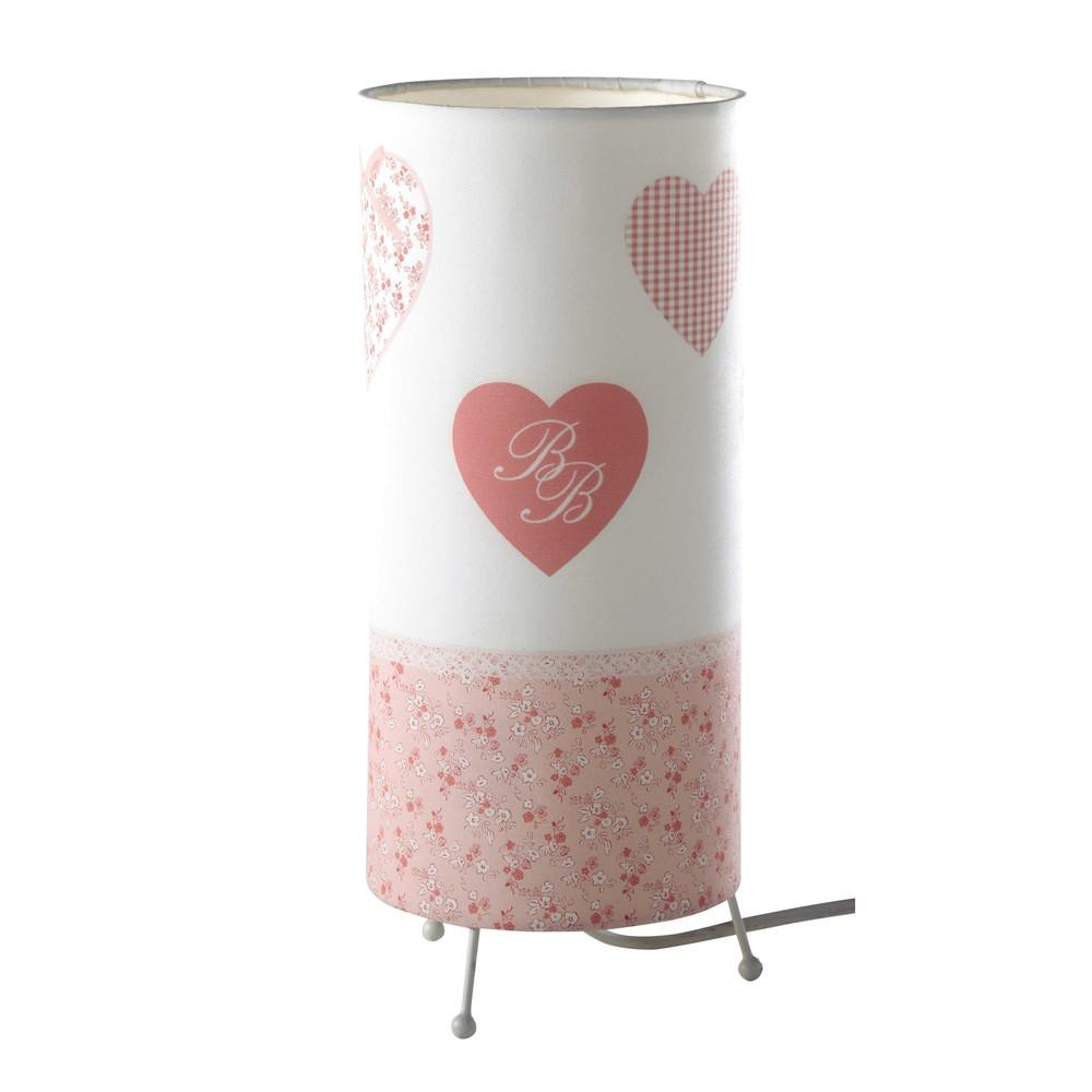 Lampe tube c ur enfant en tissu rose h 29 cm victorine maisons du monde - Lampes maison du monde ...