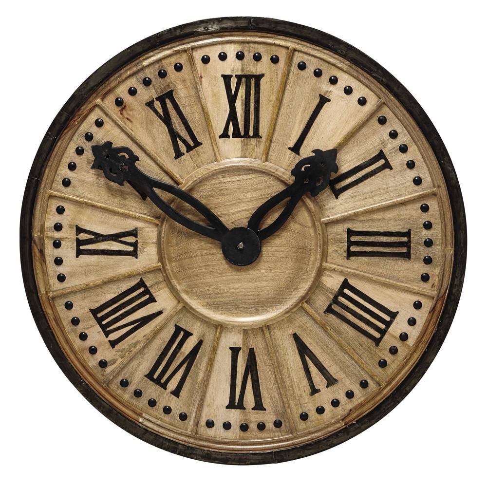 langlois wooden decorative clock d 120cm maisons du monde. Black Bedroom Furniture Sets. Home Design Ideas