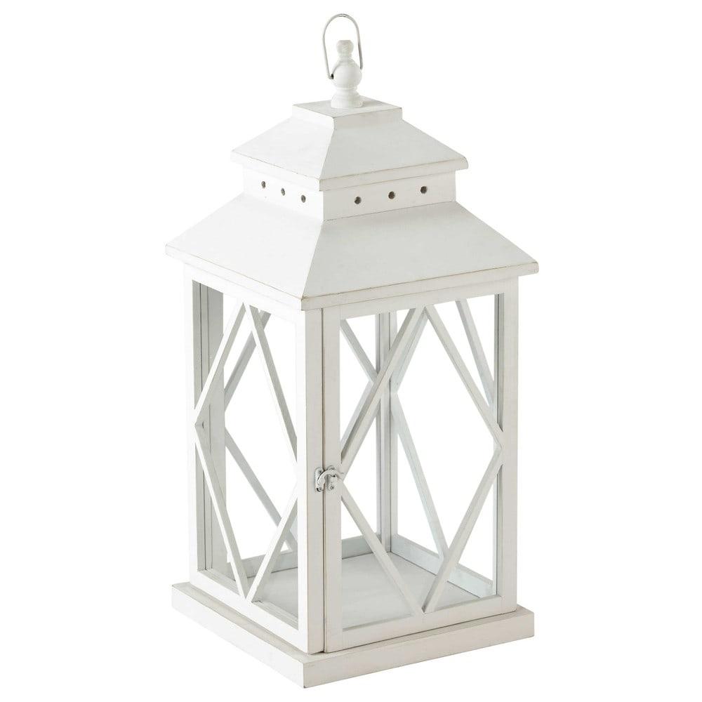lanterna bianca in legno h 67 cm baltimore maisons du monde. Black Bedroom Furniture Sets. Home Design Ideas