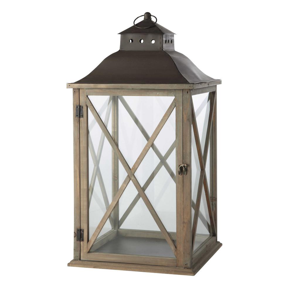 Lanterna grigiastra da giardino in legno h 72 cm leontine for Lanterne in legno