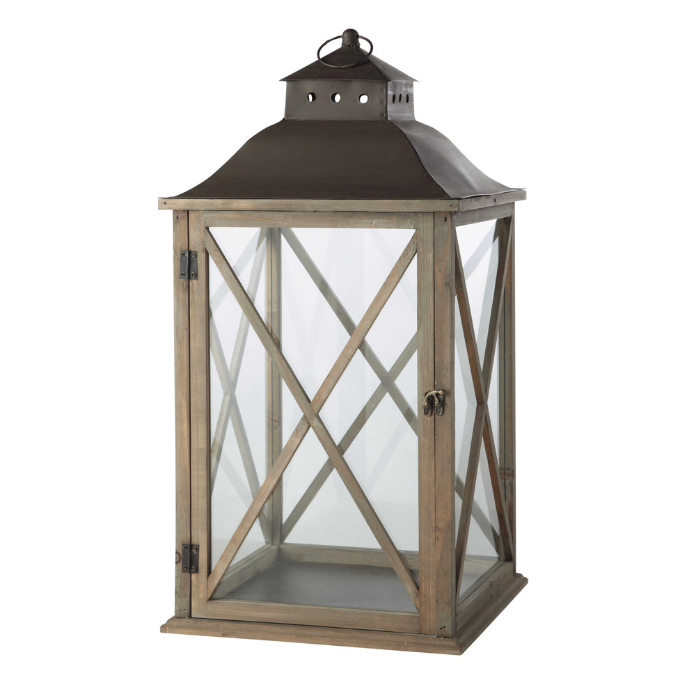 lanterna grigiastra da giardino in legno h 72 cm leontine maisons du monde. Black Bedroom Furniture Sets. Home Design Ideas