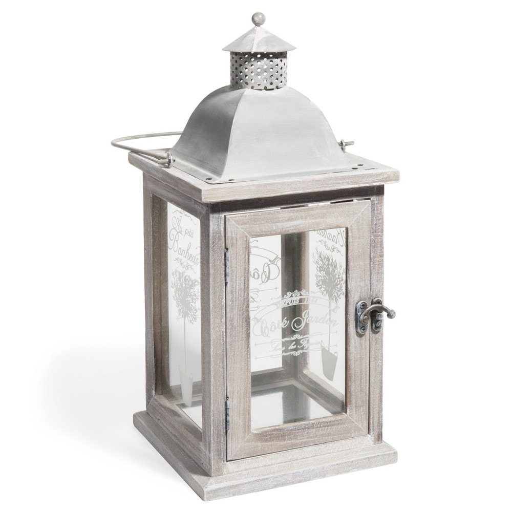 Lanterna in legno sbiancato h 36 cm olivier maisons du monde for Lanterne da arredo