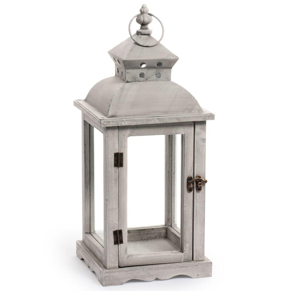 Lanterne en bois h 45 cm bellerive maisons du monde for Photophore maison du monde