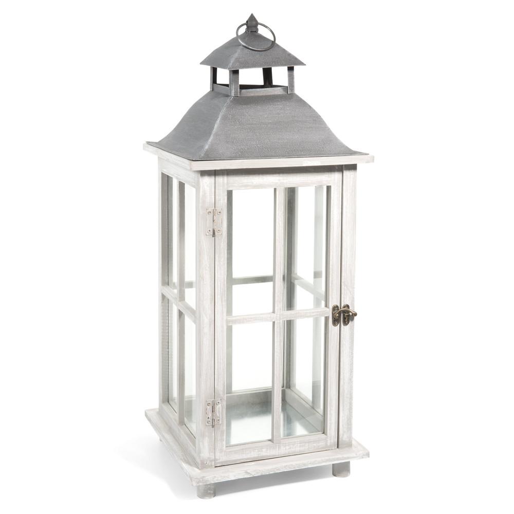 Lanterne en bois h 65 cm arhus maisons du monde for Photophore maison du monde