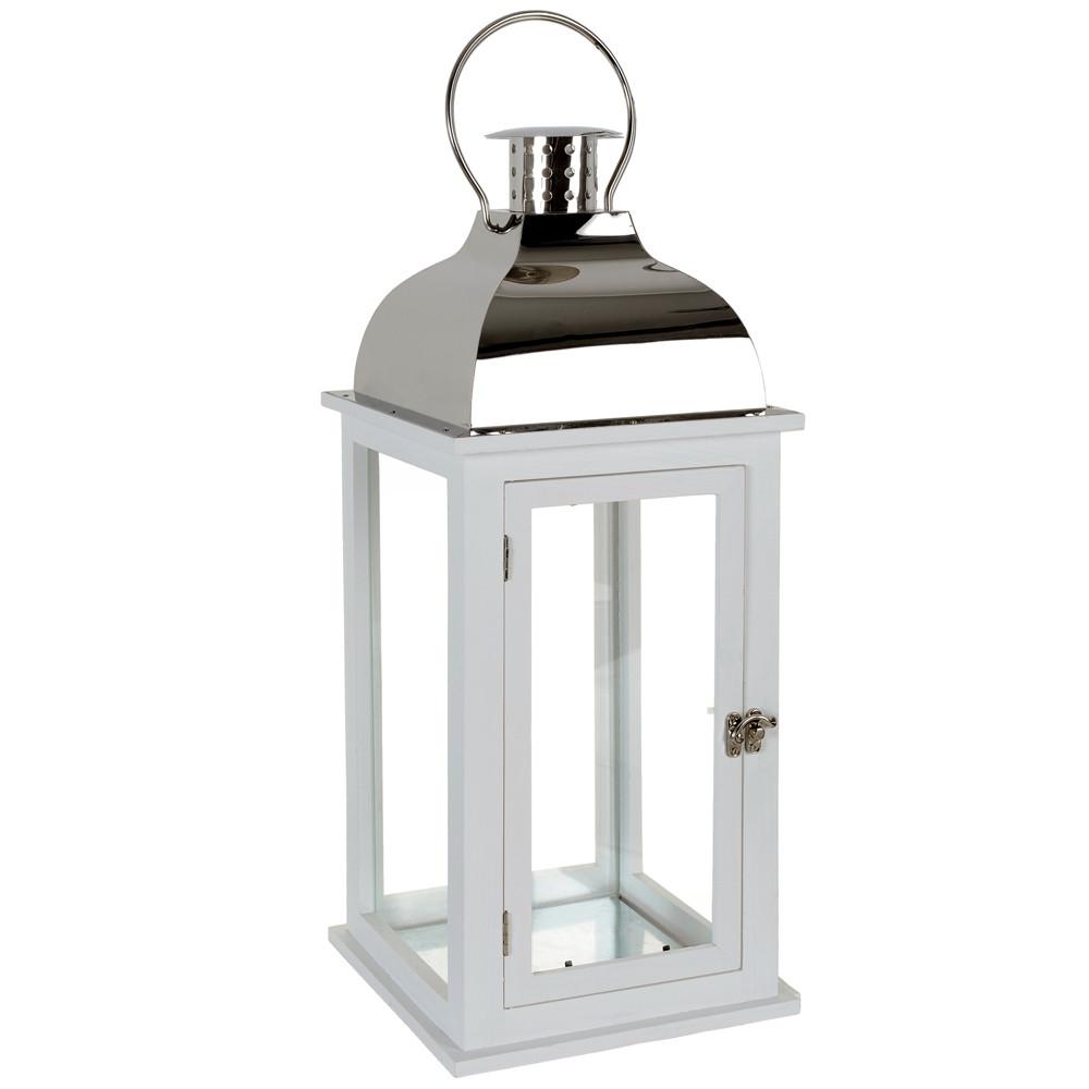 lanterne smart blanche acier maisons du monde. Black Bedroom Furniture Sets. Home Design Ideas