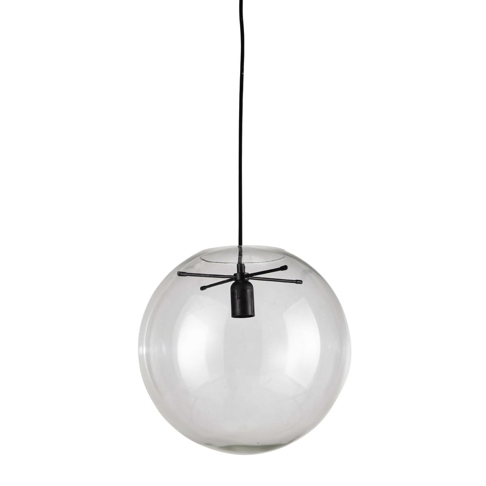 Laplace glass transparent pendant lamp d 34cm maisons du for Suspension boule verre