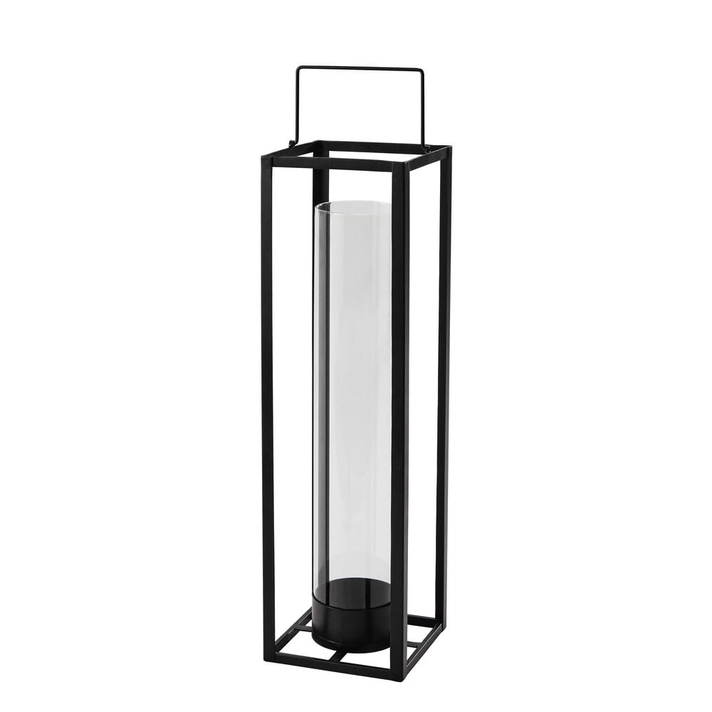 laterne warren aus metall h 69 cm schwarz maisons du monde. Black Bedroom Furniture Sets. Home Design Ideas