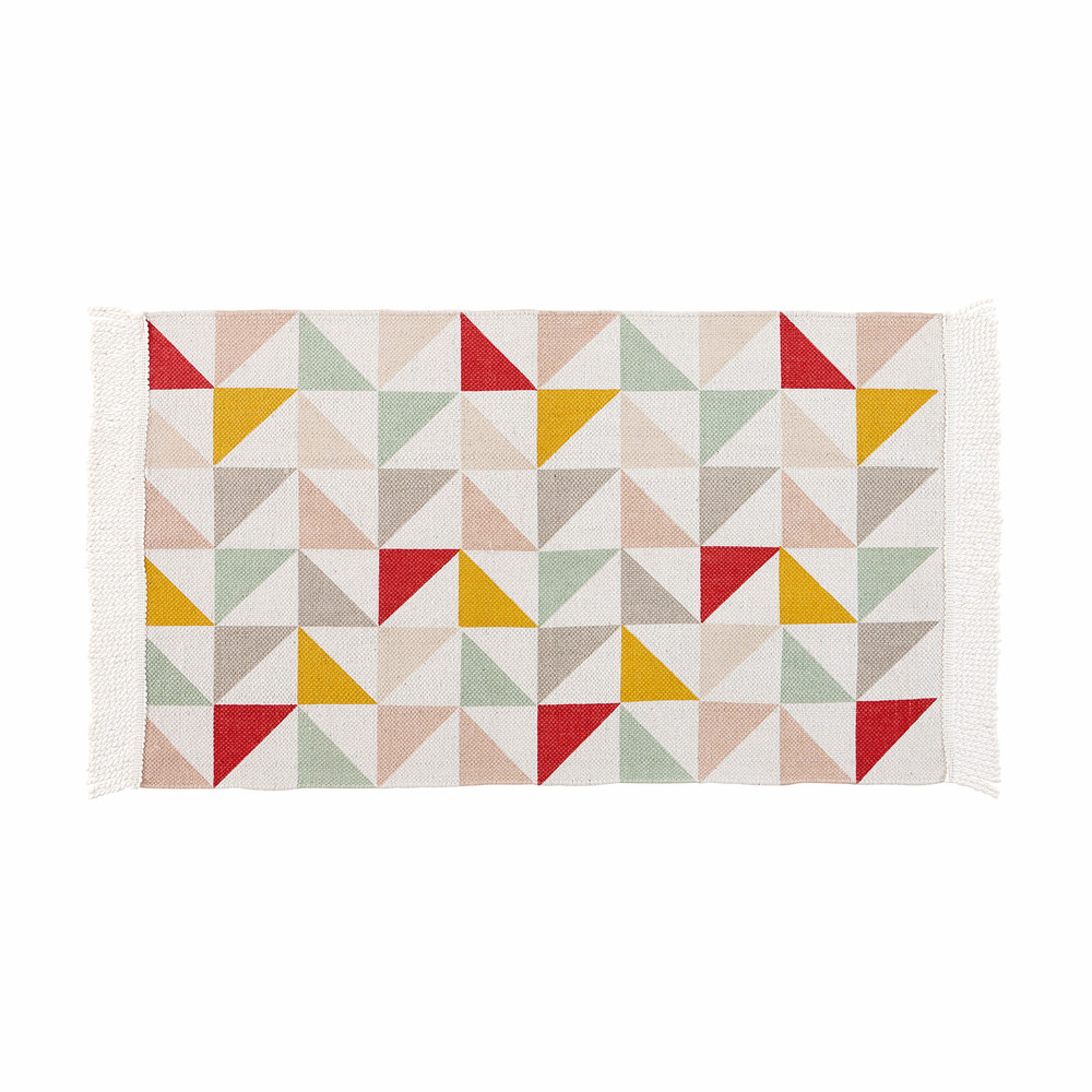 L a cotton rug with triangle motifs 60 x 100 cm maisons for Maison de monde uk