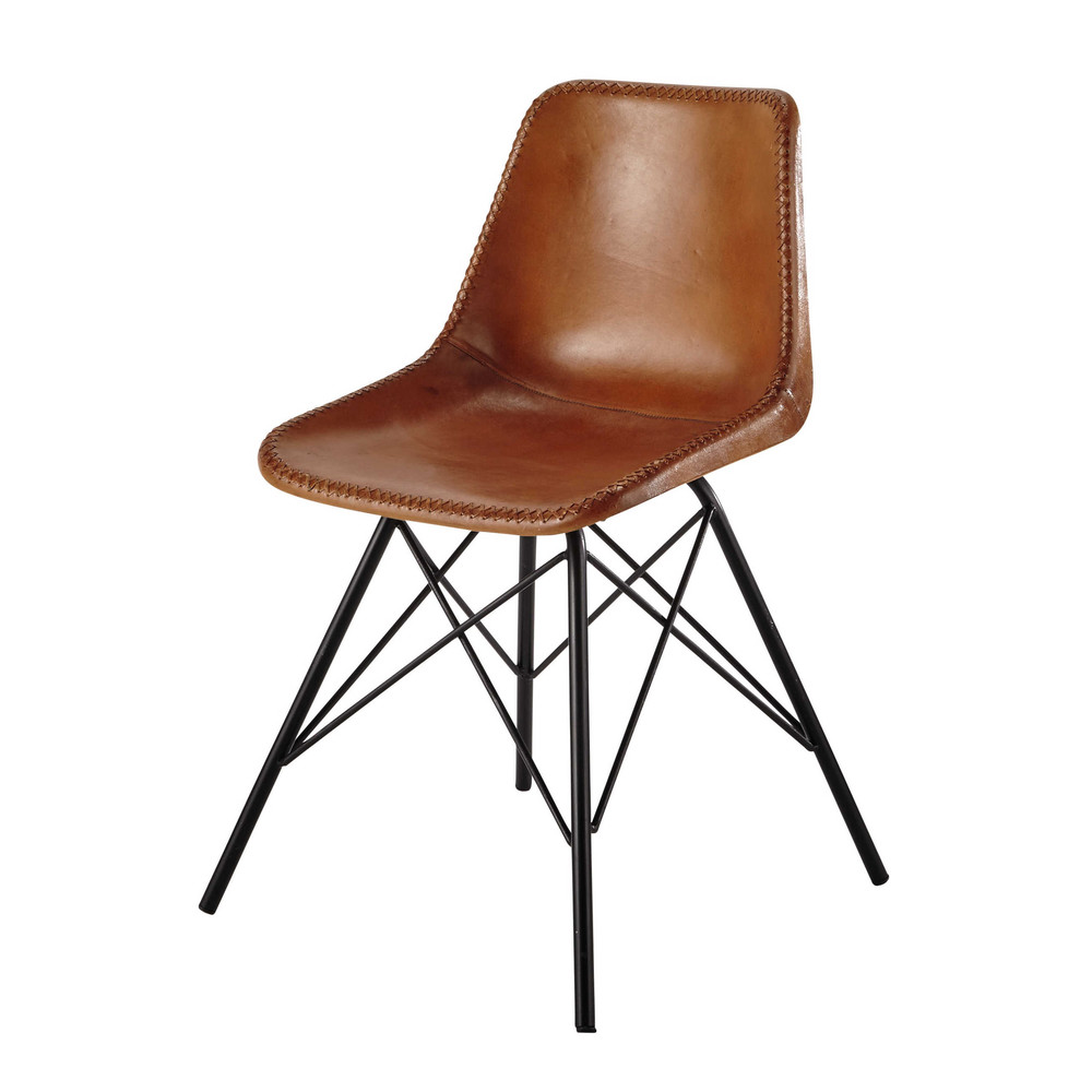 leather and metal chair in camel colour austerlitz maisons du monde. Black Bedroom Furniture Sets. Home Design Ideas