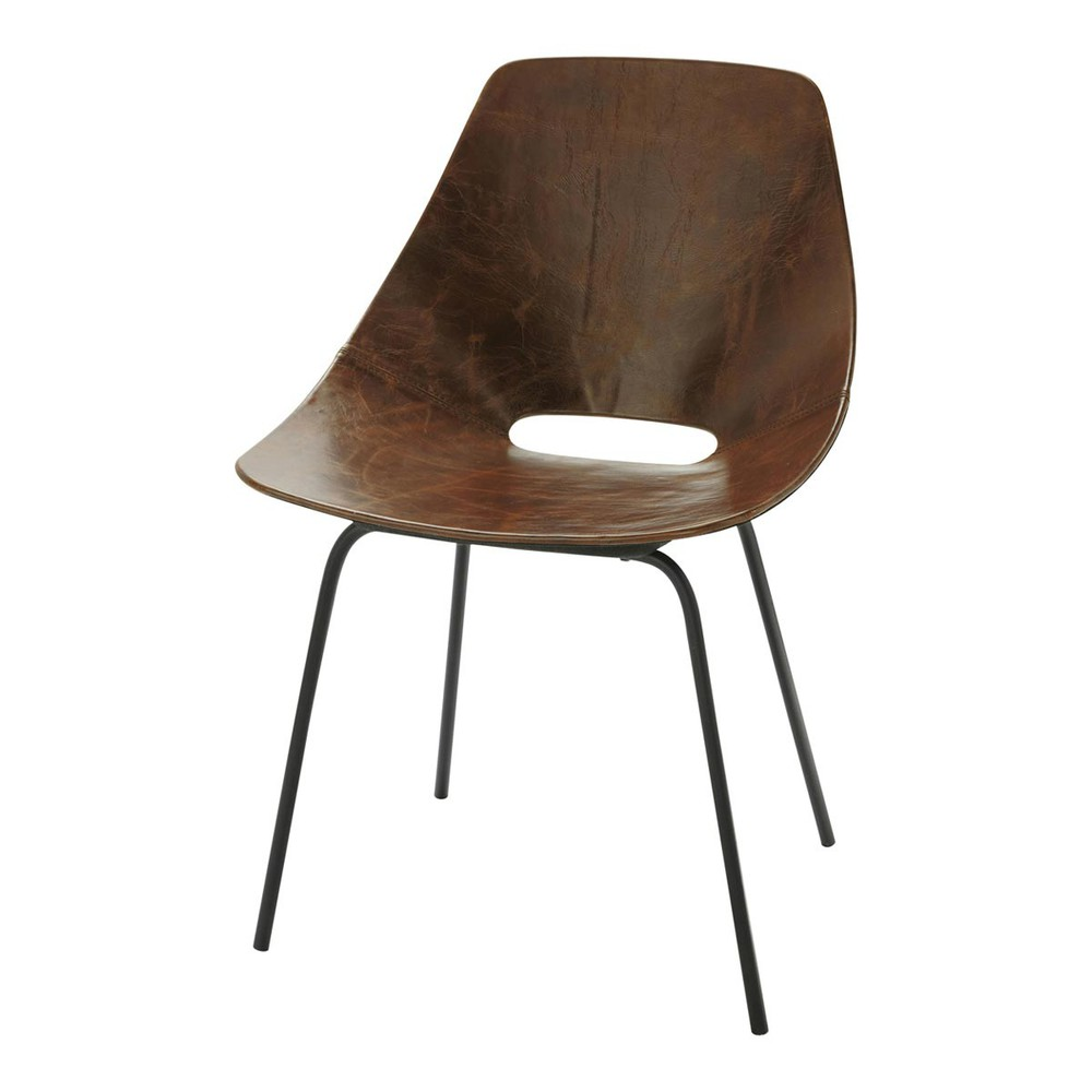leather and metal guariche tonneau chair in brown amsterdam maisons du monde. Black Bedroom Furniture Sets. Home Design Ideas