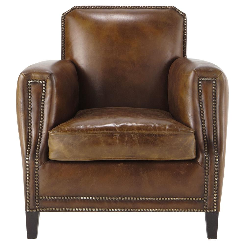 leather armchair in brown drouot maisons du monde. Black Bedroom Furniture Sets. Home Design Ideas