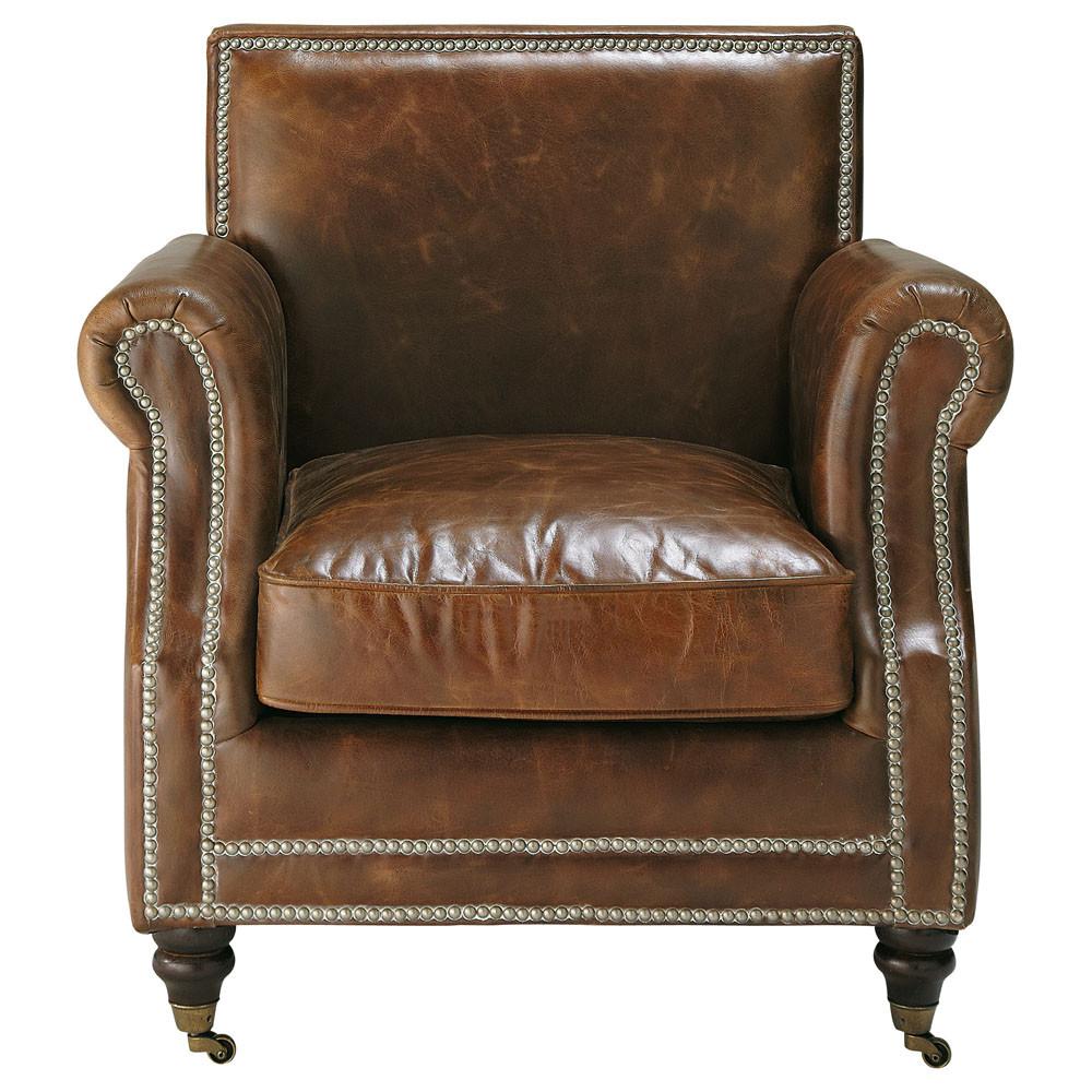 leather armchair on castors in brown baudelaire maisons du monde. Black Bedroom Furniture Sets. Home Design Ideas