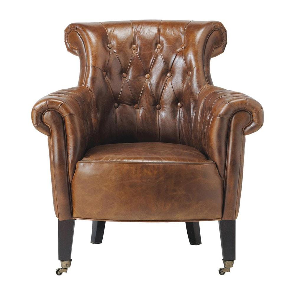Leather button armchair on castors in brown james maisons du monde - Fauteuil vintage cuir ...