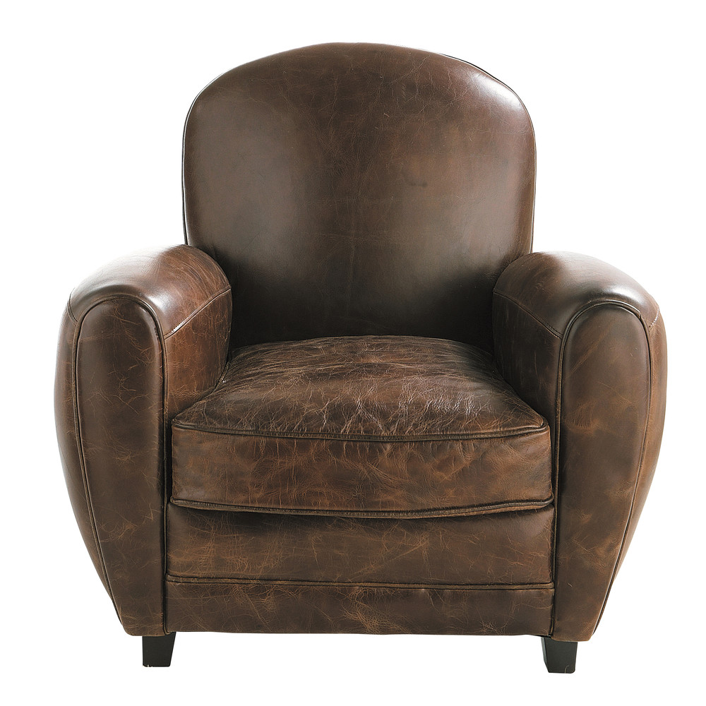 leather club armchair in brown oxford maisons du monde. Black Bedroom Furniture Sets. Home Design Ideas