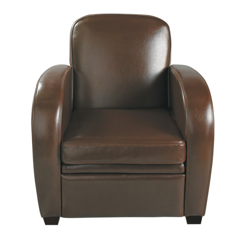 leather club armchair in chocolate harvard maisons du monde. Black Bedroom Furniture Sets. Home Design Ideas