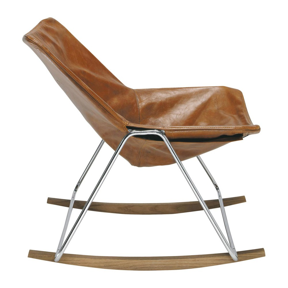 Leather rocking chair in brandy colour g1 maisons du monde for Maison du monde yt