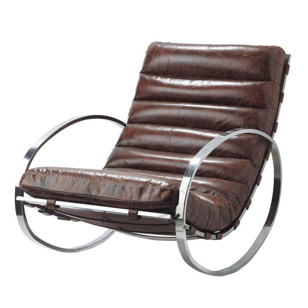 leather rocking chair in brown freud maisons du monde. Black Bedroom Furniture Sets. Home Design Ideas