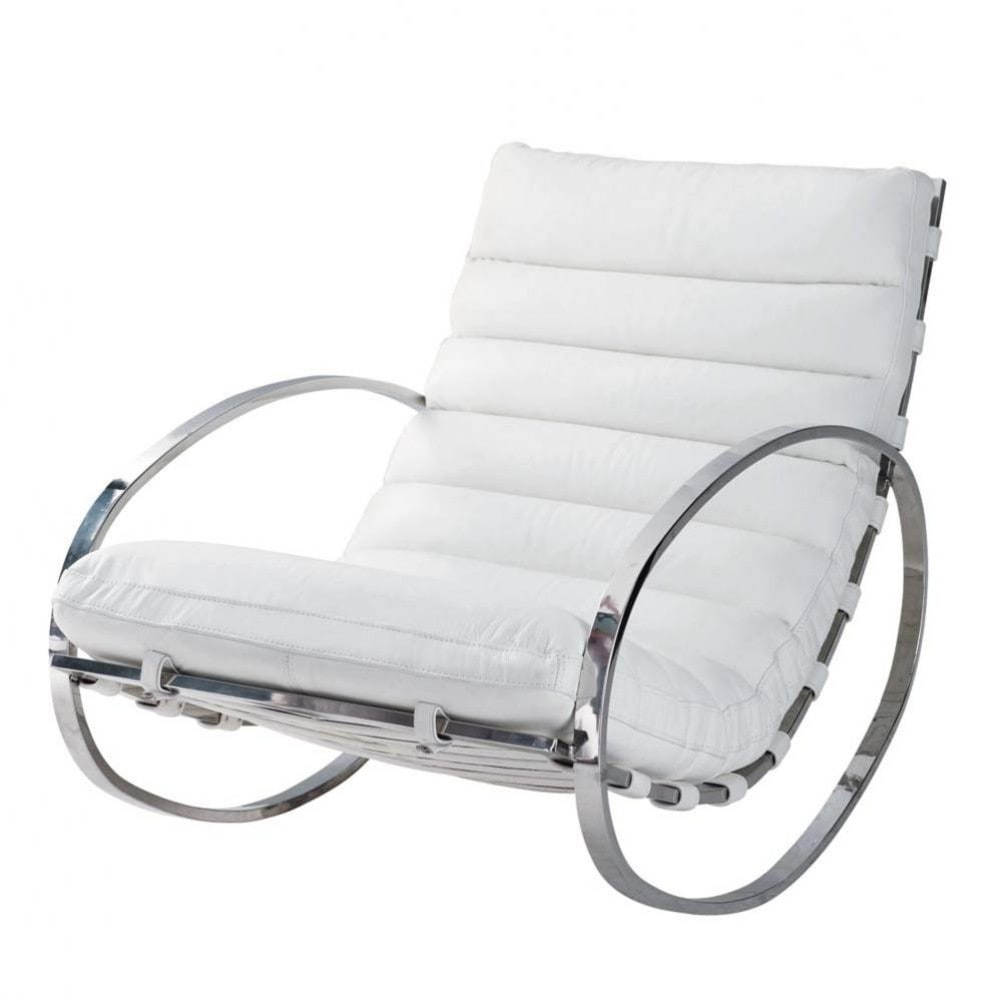 Leather rocking chair in white freud maisons du monde - Rocking chair maison du monde ...