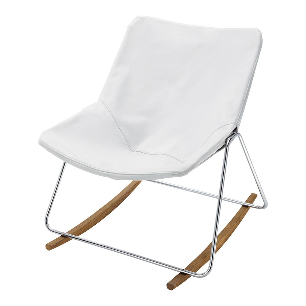 Leather rocking chair in white g1 maisons du monde - Rocking chair maison du monde ...