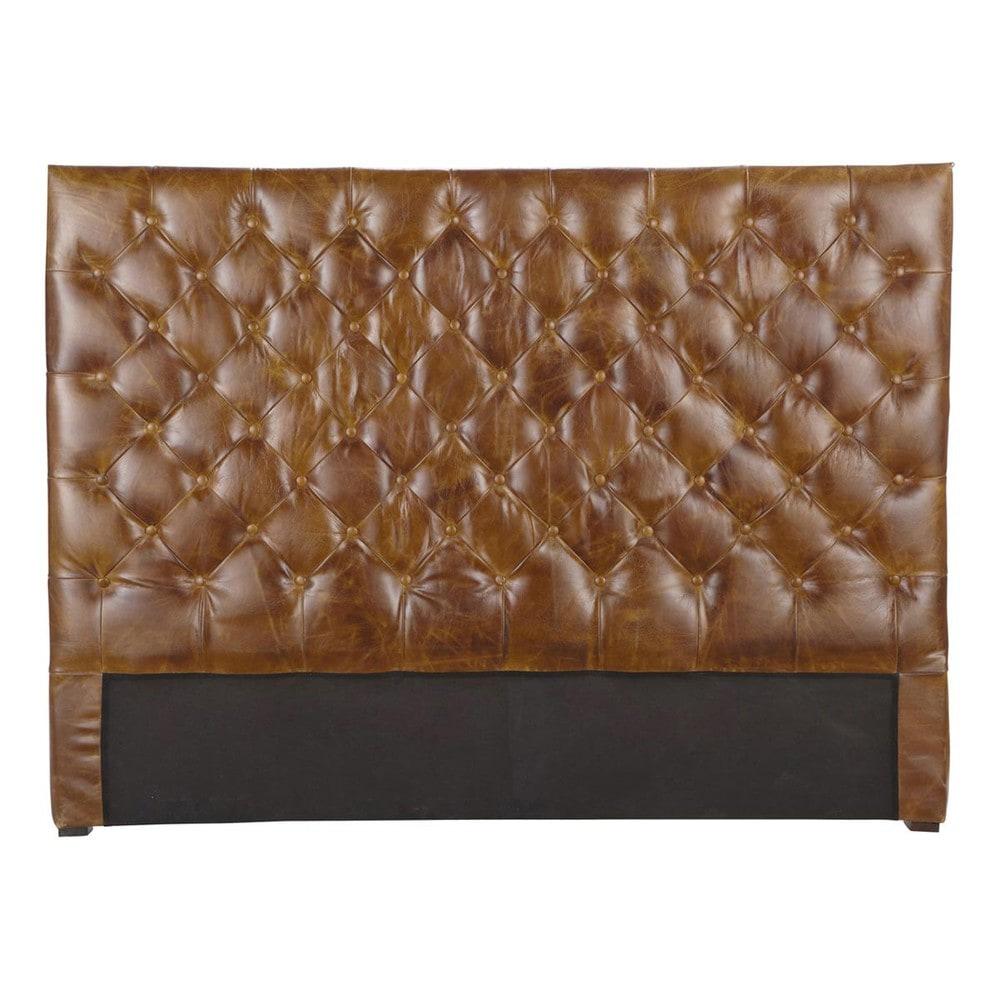 leather vintage button headboard in brown w 160cm. Black Bedroom Furniture Sets. Home Design Ideas