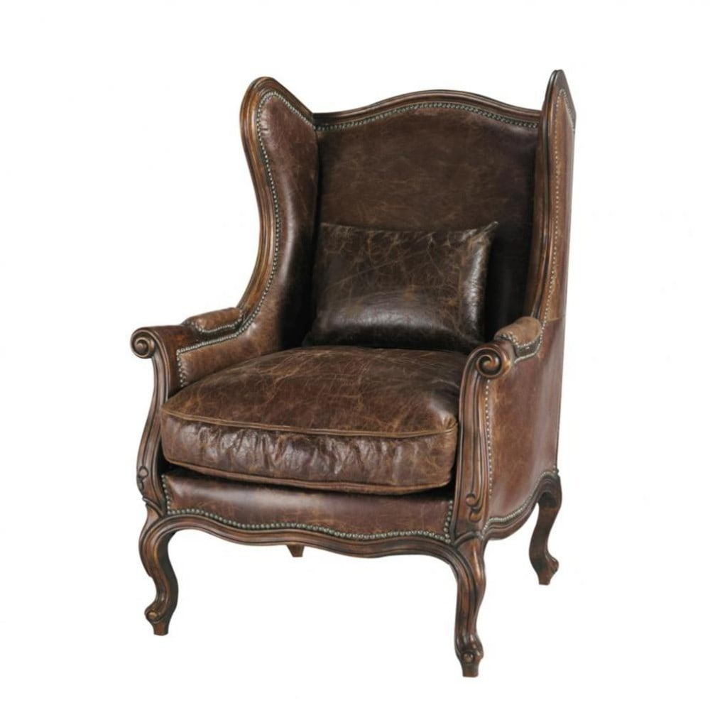 leather wing armchair in brown vintage maisons du monde. Black Bedroom Furniture Sets. Home Design Ideas