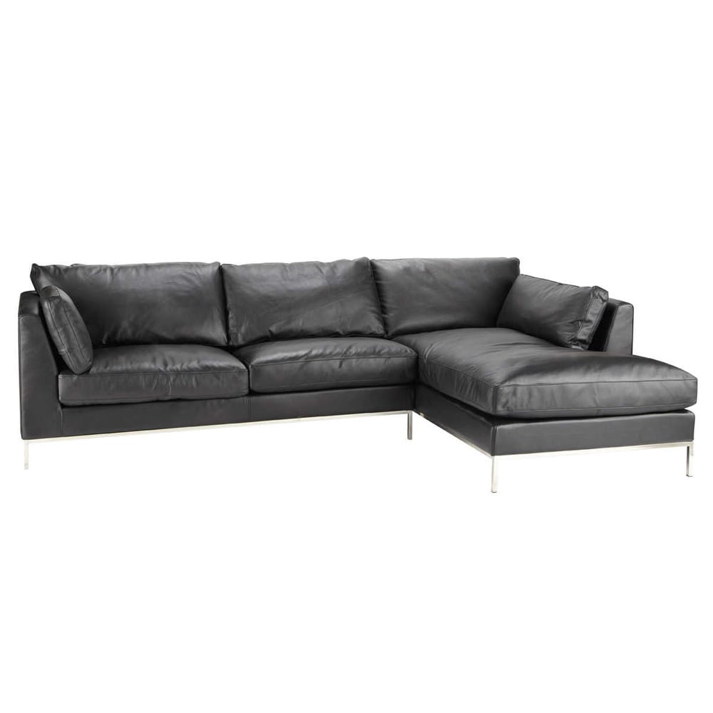leder ecksofa 5 sitzer nicht ausziehbar schwarz san francisco san francisco maisons du monde. Black Bedroom Furniture Sets. Home Design Ideas