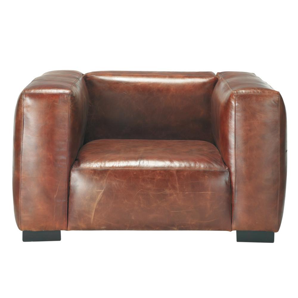 ledersessel braun john john maisons du monde. Black Bedroom Furniture Sets. Home Design Ideas