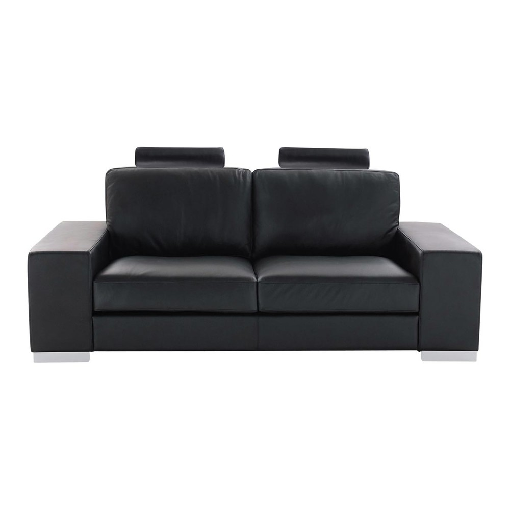 ledersofa 2 sitzer schwarz daytona daytona maisons du monde. Black Bedroom Furniture Sets. Home Design Ideas