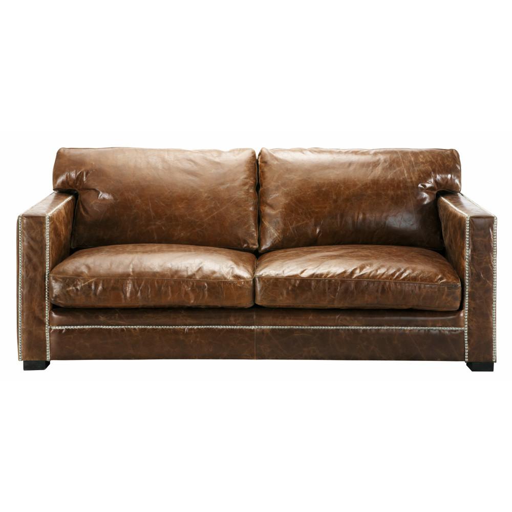 ledersofa 3 4 sitzer braun dandy maisons du monde. Black Bedroom Furniture Sets. Home Design Ideas