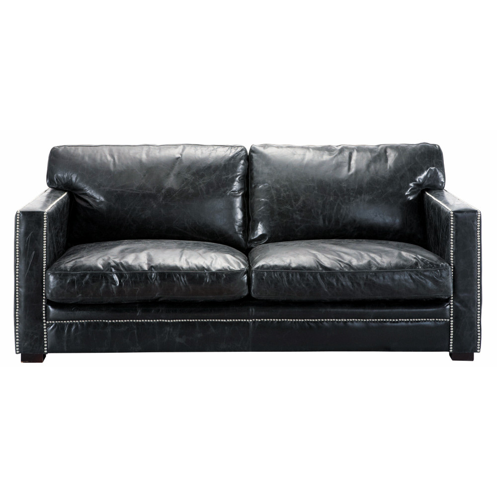 ledersofa 3 4 sitzer schwarz dandy maisons du monde. Black Bedroom Furniture Sets. Home Design Ideas