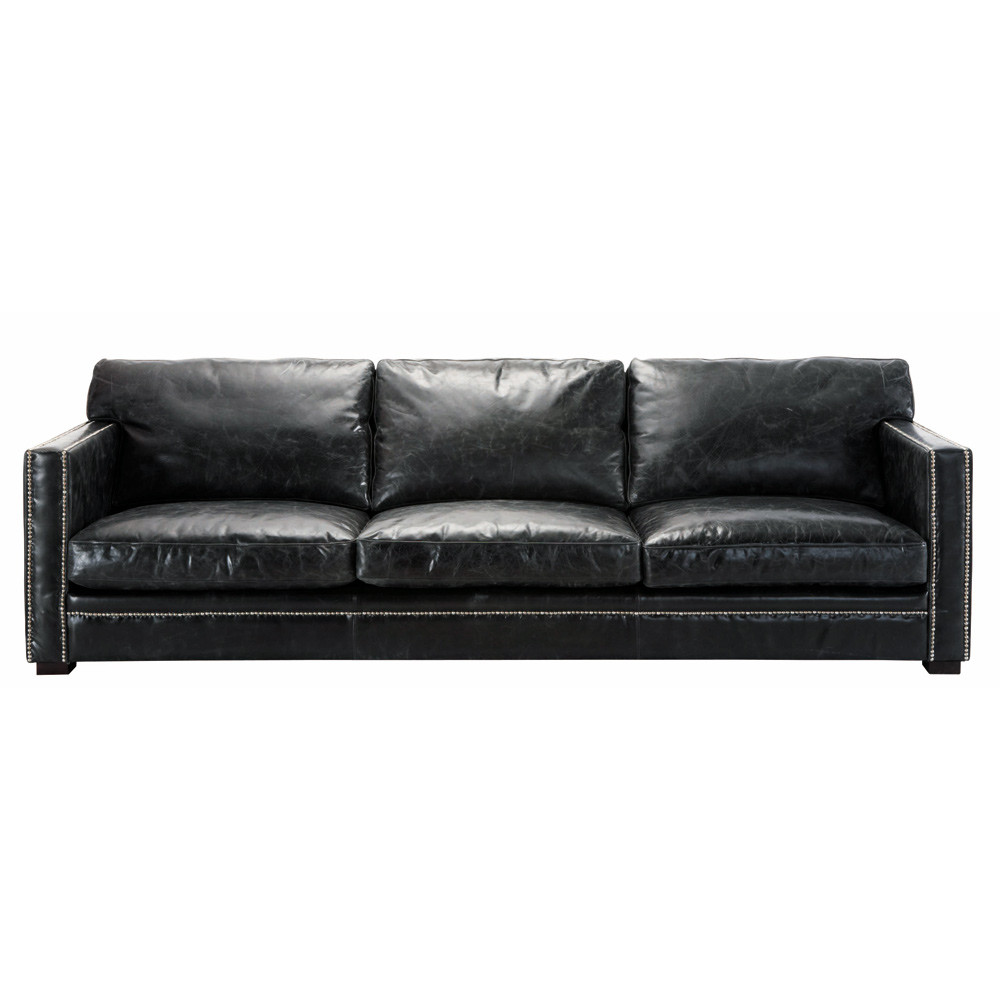 ledersofa 4 5 sitzer schwarz dandy maisons du monde. Black Bedroom Furniture Sets. Home Design Ideas
