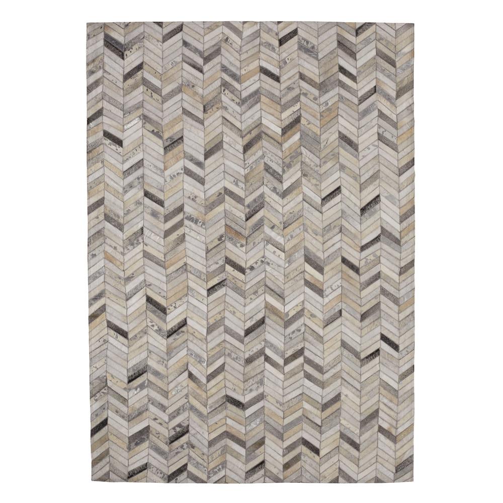 lederteppich zigzag 160 x 230 cm silberfarben maisons du monde. Black Bedroom Furniture Sets. Home Design Ideas